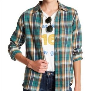 MOTHER The foxy boxy plaid shirt top